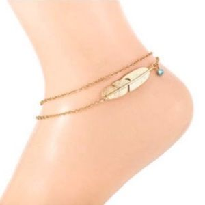 Gold Feather Double Chain Ankle Bracelet